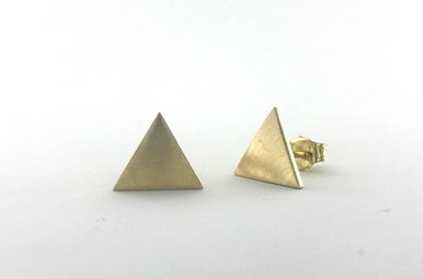 14k Yellow Gold Brushed Triangle Stud Earrings