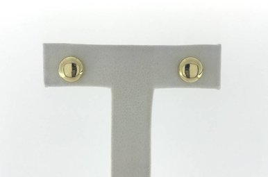 14k Yellow Gold Flat Polished Button Stud Earrings