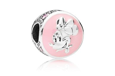 PANDORA Charm Disney, Vintage Minnie, Pink Enamel, Pink & Clear CZ