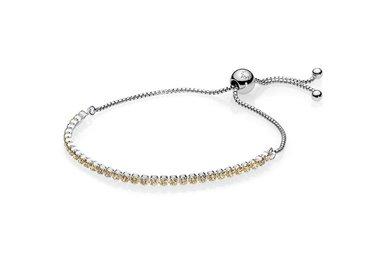 PANDORA Sparkling Strand Bracelet, Golden-Colored CZ - 23 cm / 9.1 in