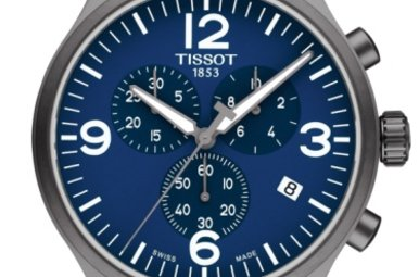 Tissot Gents Chrono XL Watch with Blue Dial & Brown Leather Band