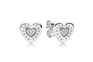 PANDORA Stud Earrings, Signature Heart, Clear CZ