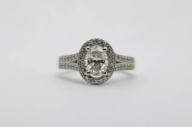 Plat .90ct-Ctr I/VS1-GIA 1-2/5ctw Oval & Round Brilliant Diamond Halo Engagement Ring