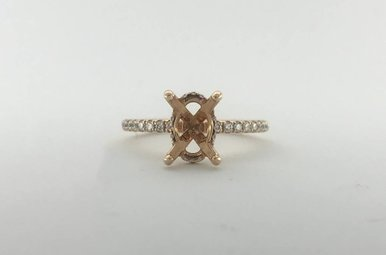 14k Rose Gold .23ctw Diamond Oval (10x7mm) Semi Mount Diamond Basket Engagement Ring (Size 6)