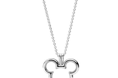 PANDORA Disney Mickey Floating Locket, Sapphire Crystal Glass - 75 cm / 29.5 in