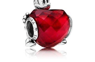 PANDORA Charm, Disney, Mickey Love Heart, Red Crystal