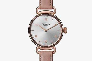 Shinola Canfield Watch 32mm Silver Dial with Pink Leather Strap