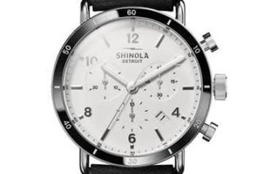 Shinola Canfield Sport Watch 40mm White Dial with Black Leather