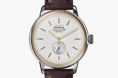 Shinola Bedrock Watch 42mm White Dial with Oxblood Cordovan Leather Strap