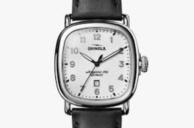 Shinola 41mm Guardian Men's Watch White Dial Black Leather Strap