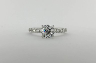 14k White Gold 1.32ctw (.96ct F/SI1 GIA Round Brilliant) Diamond U-Prong Engagement Ring  (Size 6.5)