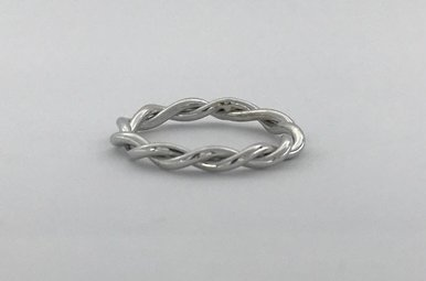 14k White Gold Large Barely There Twisted Stackable Wedding Band (Size 6.5)