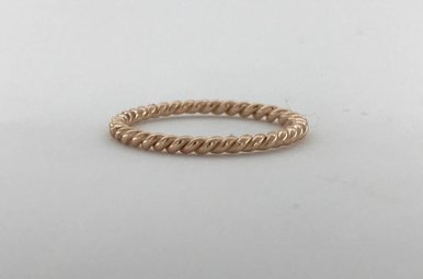 14k Rose Gold Twisted Barely There Stackable Wedding Band (Size 7)