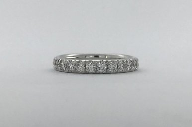 14k White Gold .50ctw Diamond French-Set Stackable Wedding Band (Size 6.5)