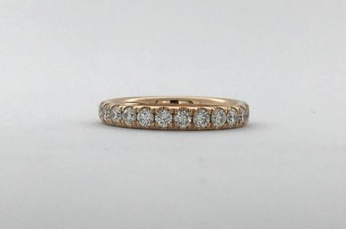14k Rose Gold .50ctw French-set Stackable Wedding Band (Size 5)