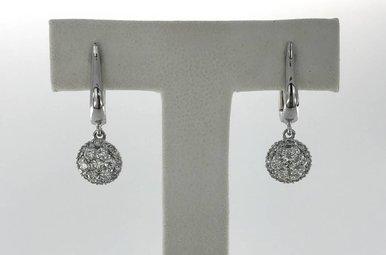 18k White Gold .53ctw Diamond Drop Polished Dangle Lever-Back Earrings