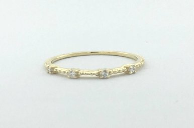 14k Yellow Gold 0.04ctw Diamond 4 Stone Beaded Stackable Wedding Band (size7)