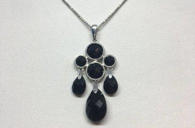 14k White Gold Black Onyx Pendant Necklace