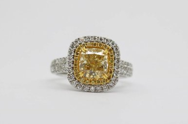 18kw 1.8ct-Ctr FY/SI1 GIA 2.43ctw Fancy Yellow Cushion Cut Diamond Double Halo Engagement Ring
