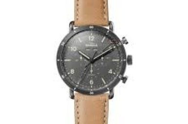 Shinola Canfield Sport 45mm Natural Leather Band Gray Mens Watch