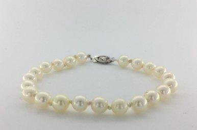 """14K White Gold 6.5-7mm Freshwater Pearl Strand Bracelet, 7.5"""""""
