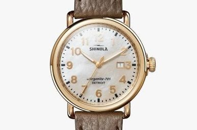 Shinola Runwell 41mm Mother of Pearl Dial with Brown Leather Strap