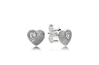 PANDORA Stud Earrings, Vintage Heart Fans, Clear CZ