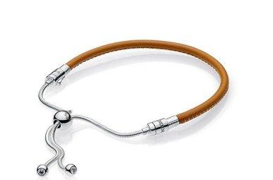 PANDORA Golden Tan Leather Bracelet, Sliding Clasp, Clear CZ - 28 cm / 11 in