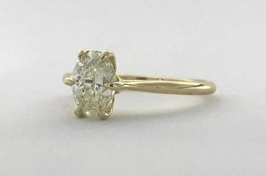 14k Yellow Gold 1.20ct I/VS2 Oval Diamond (EGLUSA) 6-Prong Solitaire Engagement Ring (Size 8)