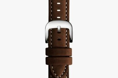 Shinola Watch Strap Brown Leather White Stitching 24/22