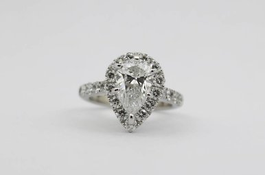 14kw 1.61ct-Ctr G/SI1 GIA 2.61ctw Pear & Round Brilliant Diamond Halo Engagement Ring