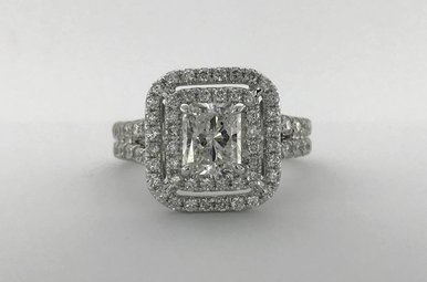 14k White Gold 2.39ctw Diamond (1.02ct H/SI1 Radiant) Double Halo Spilt Shank Engagement Ring (Size 7)