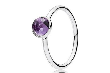 PANDORA Ring, February Droplet Birthstone, Synthetic Amethyst - Size 50