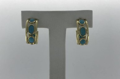 14K Yellow Gold and Tourq Hoop Earrings