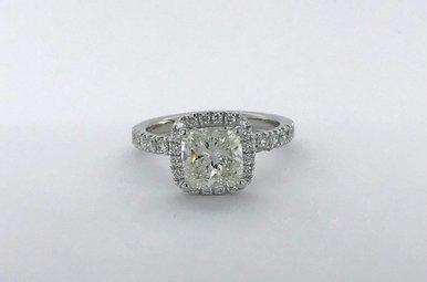14k White Gold 2.3ctw (1.70ct Cushion  J/SI1 GIA) Diamond Cushion Halo Engagement Ring (Size 7)