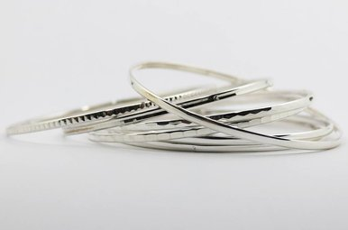 Sterling Silver Set of 7 Stackable Bangle Bracelets