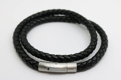 Stainless Steel Black Braided Leather Bracelet