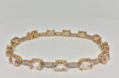 14k Rose Gold Morganite Approx 13.0 ctw and Dia Accent Bracelet