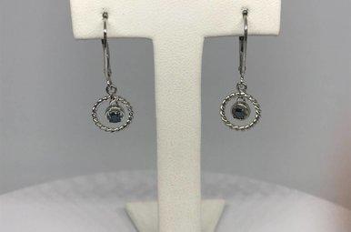 10k White Blue Dia 1/8ctw Dangle Earrings