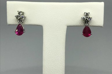18K White Gen Ruby and Dia Accent Dangle Post Earrings