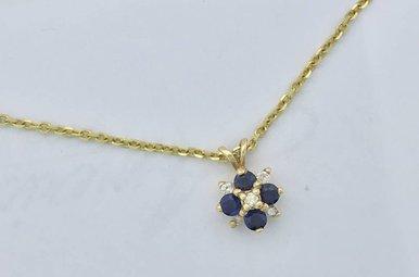 14K Yellow Sapphire and Dia Star Pendant