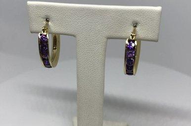 14K Yellow Amethyst Channel Set Hoops Earrings