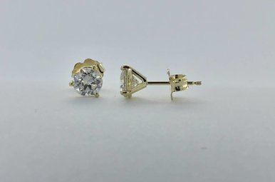 14k Yellow 1.0ctw Solitaire Diamond Stud Earrings