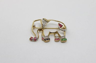 10ky Elephant Pin with Diamonds, Rubies, Emeralds & Sapphires
