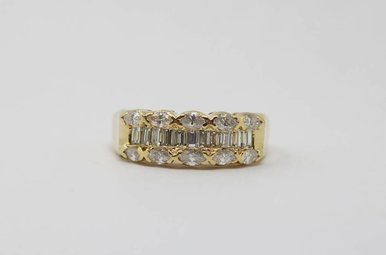 14ky 1ctw Marquise & Baguette Diamond Ladies Band