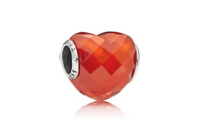 PANDORA Charm, Shape of Love, Orange CZ