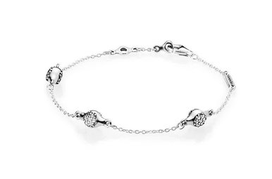 PANDORA Bracelet, Modern LovePods, Clear CZ - 16 cm / 6.3 in