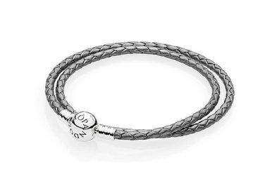 PANDORA Braided Leather Bracelet, Double, Silver Grey - 38 cm / 15 in