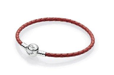 PANDORA Braided Leather Bracelet, Red - 19 cm / 7.5 in