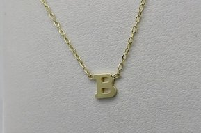 """14k Yellow Gold """"B"""" Letter Initial Necklace (Adjustable 16-18"""")"""